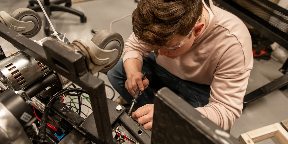 Engineering students demonstrate an explosion simulation project