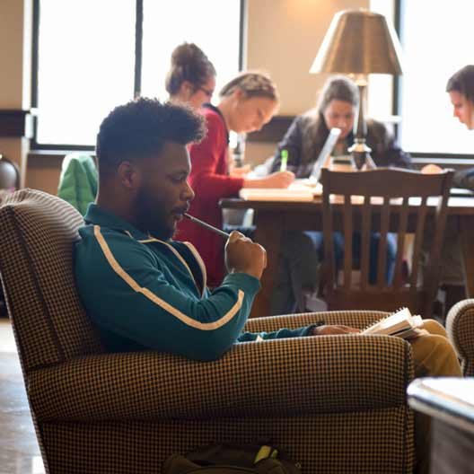 A student studying in the Ferrell Academic Center Reading Room