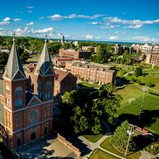 An aerial shot of St. Benedict's Church in Atchison, KS