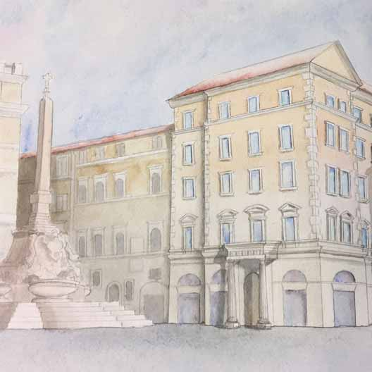 A watercolor of a building with a monument nearby
