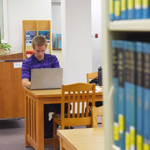 A student works on a laptop in the Library