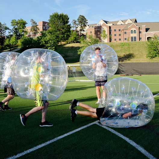 BCYC students playing bubble soccer