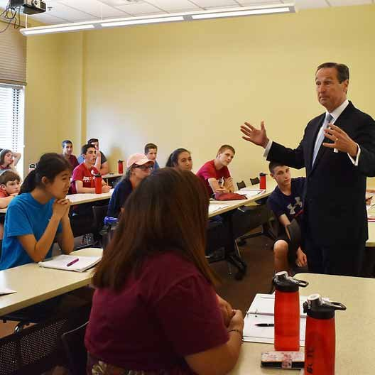 President Stephen Minnis teaches students in BCYC Immersion Leadership class