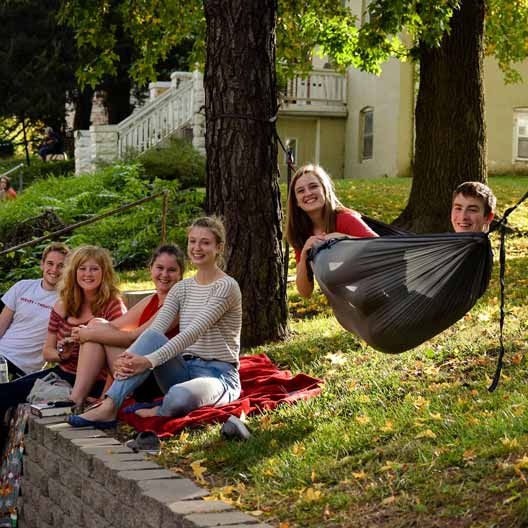 Students hanging out outside