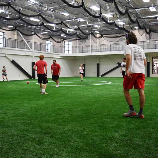 Students playing soccer in the Murphy Recreation Center